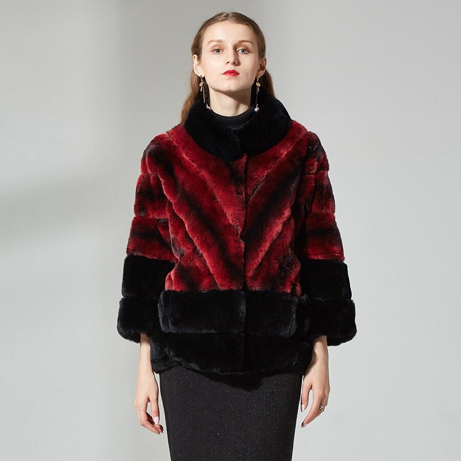 Натуральная меховая куртка женская куртка из меха кролика Стенд воротник Шиншилла пальто с мехом