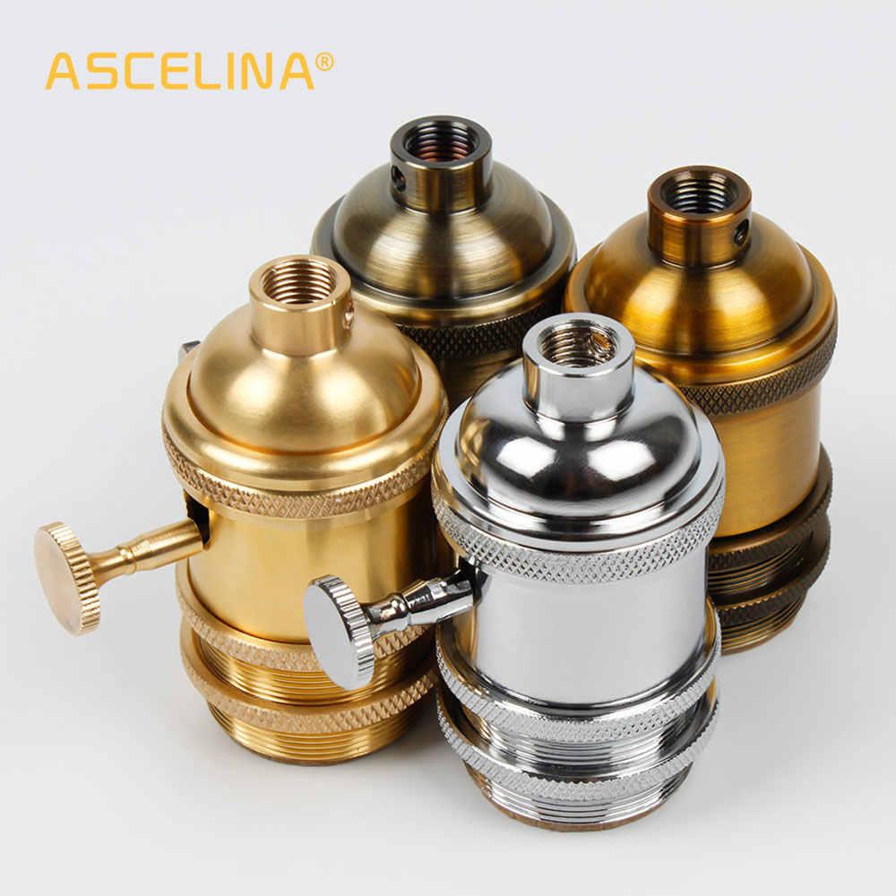 Цоколь лампы E27, промышленный держатель лампы, винтовой патрон для лампы, алюминиевая Ретро подвесная арматура, люстр, держатели ламп, приспособление, винтажное, сделай сам