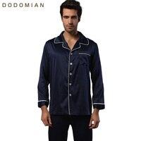Brand Mens Silk Pajamas Set Satin Pure Pyjama Homme Long Sleeve Sleeping Shirt Brand Navy Male