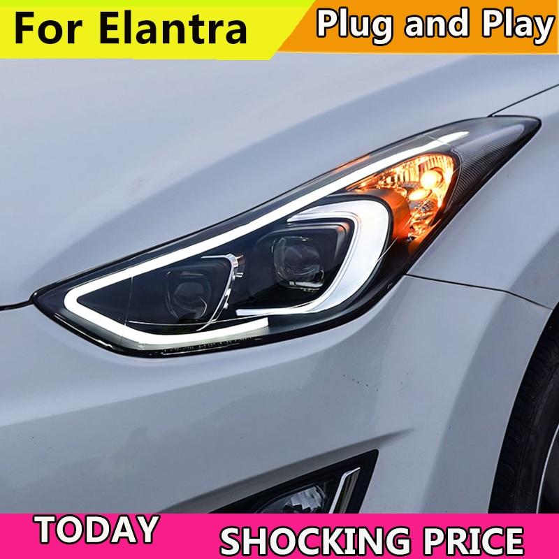 Car Styling Head Lamp for Hyundai Elantra Headlights 2011 2017 year Elantra MD LED Headlight H7
