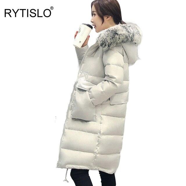 RYTISLO S M XL 4XL Tamanho Real de 100% de Pato Para Baixo Inverno mulheres Jaquetas Dupla Bolsos Estilo Coreia Do Longa Na Altura Do Joelho Espessamento Casacos Outerwear