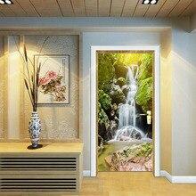 Creative New  Alpine Waterfalls Door Sticker Home Bedroom Sliding Decorative Wallpaper PVC Waterproof Wall Stickers