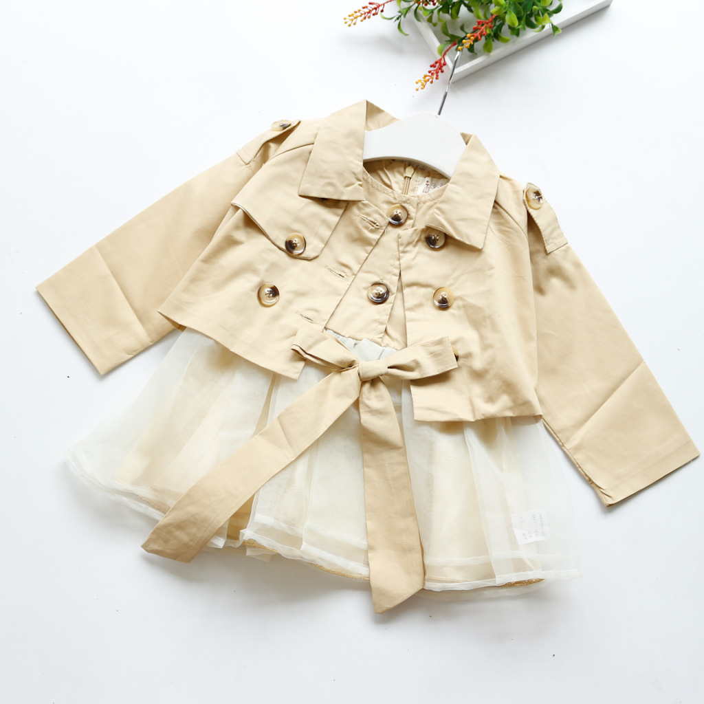 Vogue Child Women Spring Autumn Garments Youngsters Clothes Set Lengthy Sleeve Windbreaker Jacket + Vest Skirt Costume Menina Roupa