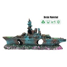 Aquarium Ship Decoration Boat Pirate Wreck Hollow Fish Tank Landscaping Dodge House Ornaments Warship