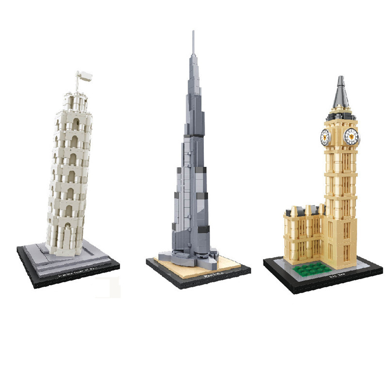 World Famous Architecture Diamond Building Blocks Model Burj Khalifa Tower Big Ben Louvre Museum Pisa Tower Educational Toys image