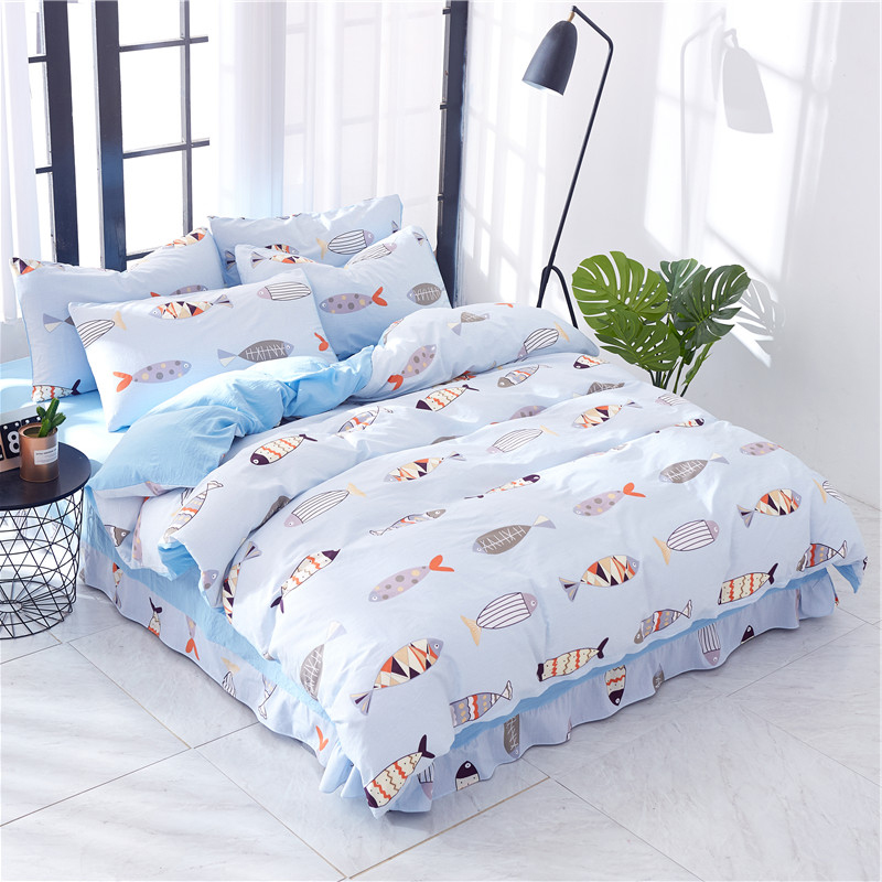 Colorful Duvet Cover Set Japanese Carp Koi Fish In Checkered Square Pattern Pop Art Style Illustration 4 Piece Bedding Set Home Textile