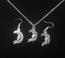 New Vintage Moon Antique Silver Charm Earring & Pendant Necklace  Jewelry Set  Gift 5 Set/lot