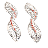 Leaf Shape Red Garnet 2 2mm Semi Precious Silver Cool For Womens Stud Earrings ED0395