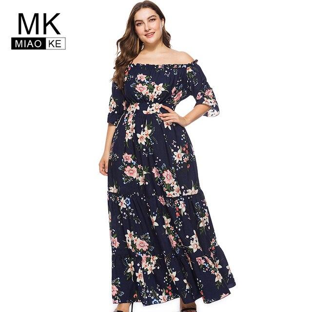 Miaoke plus size summer long Shoulder dress for women 4xl 5xl 6xl ...