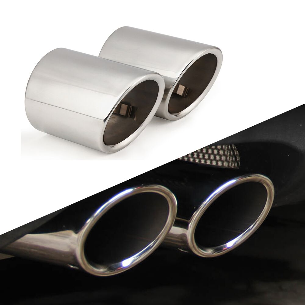 2pcs Car Stainless Steel Exhaust Tip Muffler Pipe Cover For Audi A1 A3 A4 Q5 Q3 Q7 Car Styling Accessories|Car Stickers| |  - title=
