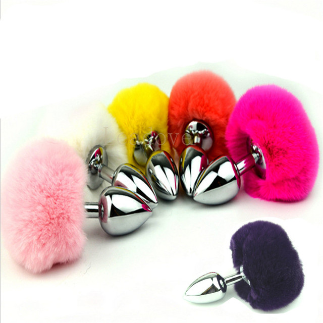 f66c709fc 100 pcs lot Medium size Rabbit Tail Metal Anal Plug Faux Bunny Tail Butt  Plug Ass Toy Adult Sex Toys Products for Lover GS0308