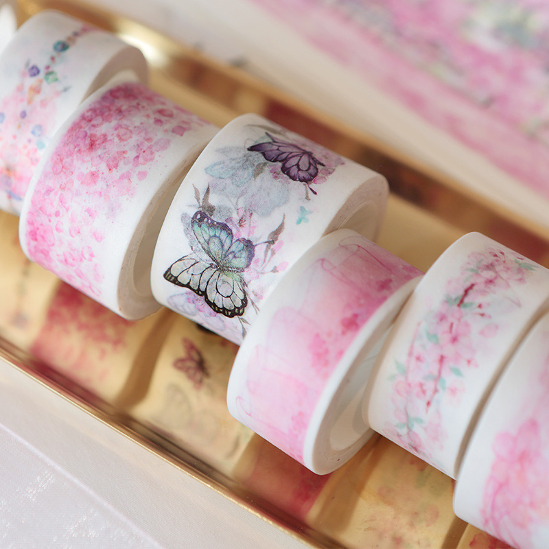 Honest Romantic Watercolor Cherry Blossom Sakura Show Paper Decorative Washi Tape Diy Scrapbooking Masking Tape School Office Supply