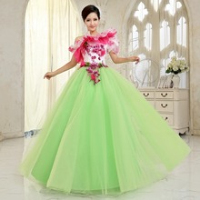 Freeship hot pink flower light green single bubble sleeve medieval dress renaissance Gown iqueen Victoria Belle Ball/ball gown