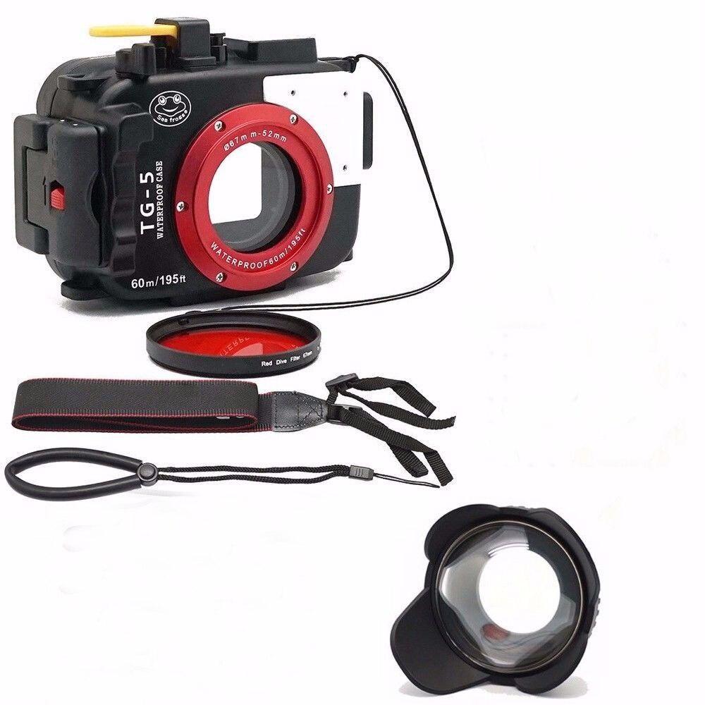 Seafrogs 195FT/м 60 м подводный камера водостойкий Дайвинг Корпус для Olympus TG-5 + мм 67 мм рыбий глаз + красный фильтр для подарка