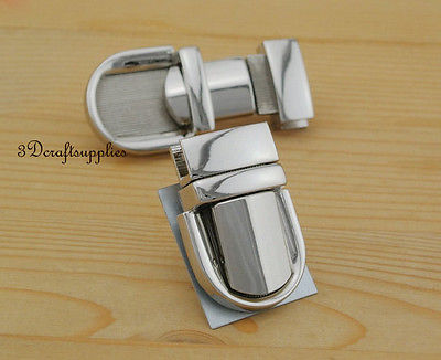 purse lock wallet Thumb latch tongue clasp silver 1 1/8 inch x 1 3/4 inch N12