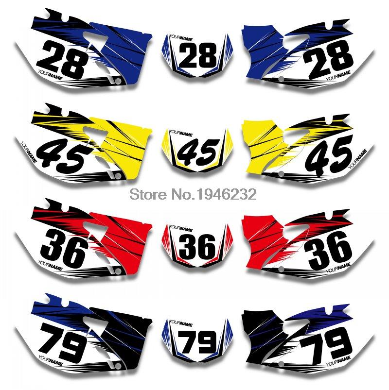 Custom number plate backgrounds graphics sticker decals kit for yamaha wr250f 2007 2013 wr450f 2007 2008 2009 2010 2011 in decals stickers from