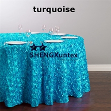 Good Quality 3D Satin Rosette Wedding Table Cloth \ Round Tablecloth    Turquoise Color