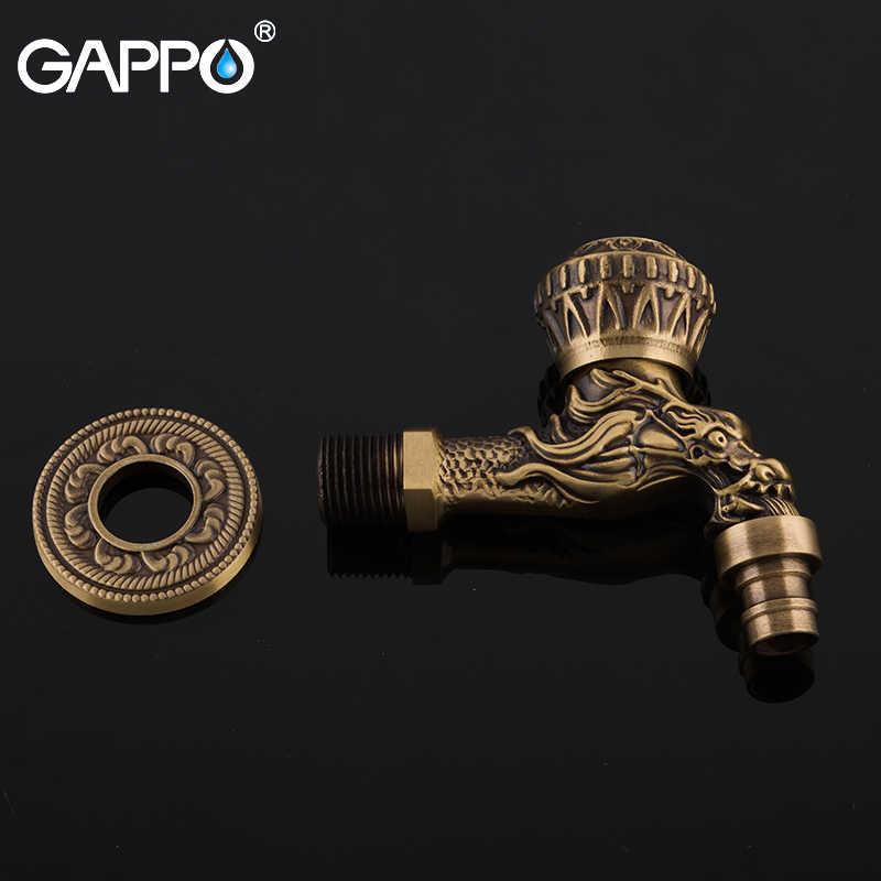 GAPPO אגן ברזי פליז עתיק קיר רכוב אמבטיה מכונת כביסה אגן ברז ארוך גן ברז מהיר פתיחה ברז