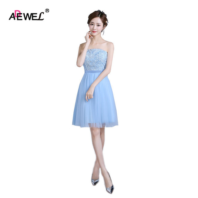 Adewel Cute Blue Women Summer Short Mesh Lace Party Dress Wedding Wear Gown Special Occasion