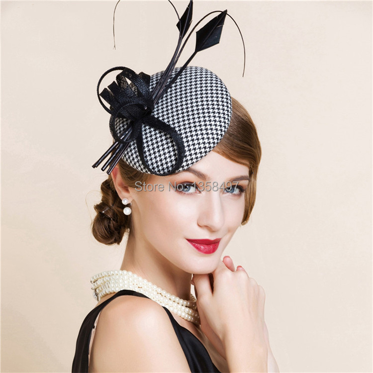 b4bb4b4756d4 Black And White England Style Fascinator Hair Pillbox Hat Bowknot ...