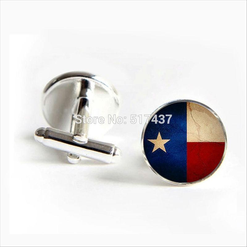 2016 Free Shipping Flag Of Texas Cufflinks Texas State Flag Cuff Link Flag Fashion Black Round Cufflinks