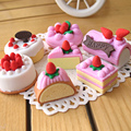 4Pcs/Lot Random Eraser Rubber Stationery New Cake Shaped Creative Cute School Supplies For Kids H1069