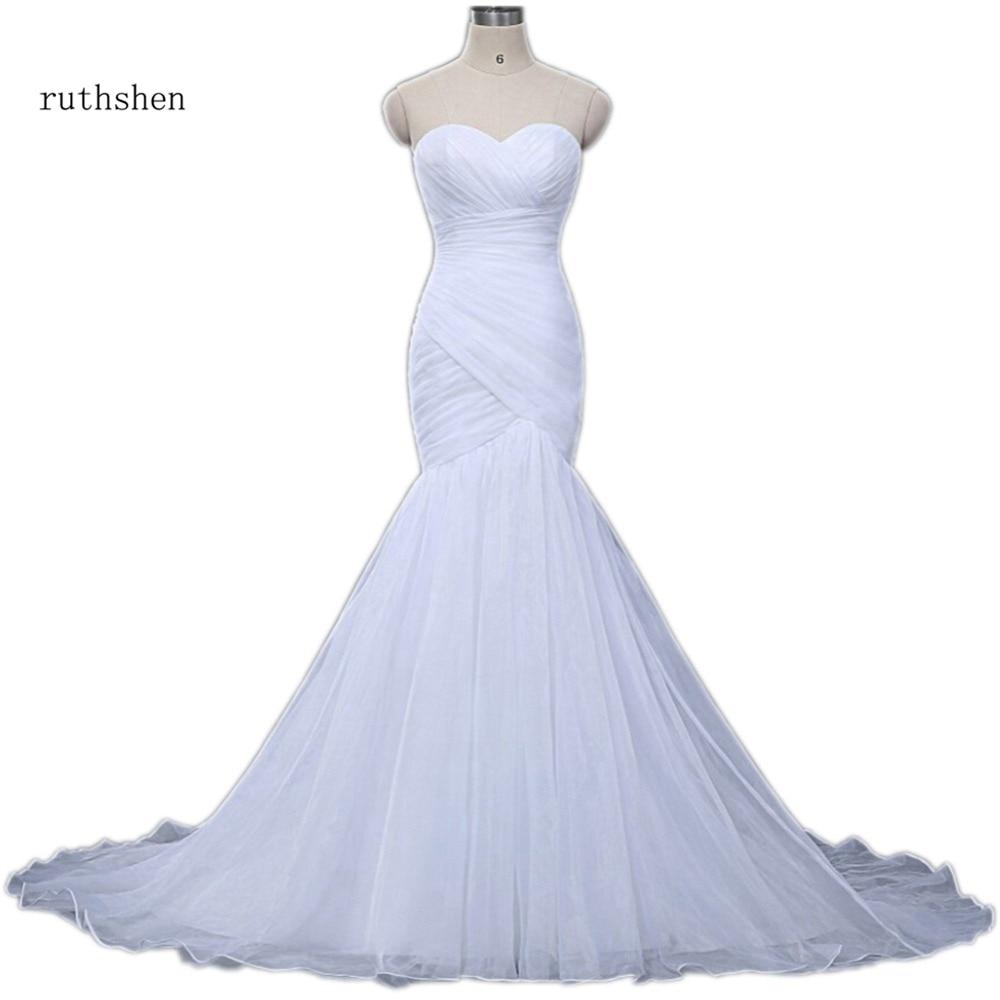 Cheap Wedding Dresses Simple Sweetheart Mermaid Pleats Draped Organza Vestidos Baratos In Stock Sexy White Vestido
