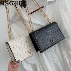 Msgher mini sacos de ombro das mulheres xadrez corrente pequenos sacos quadrados moda feminina diamantes crossbody sacos com couro sintético do plutônio