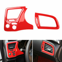 BBQ@FUKA 2pcs Car Dashboard Air Outlet Vent Cover Frame Trim Red ABS Car accessories For Honda City 2015 2017 interior car decal