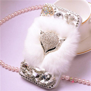 Image 2 - Luxurious Jewel Real Rabbit Fur Bling Leather Wallet Cases capa for iphone X XS MAX XR 5S 6 6 Plus 7 8 Plus bling Phone case
