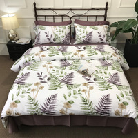 29 Colors Hot Tropical Leaves White Cotton Bedding Set King Queen Size Quilt Duvet Cover Flat Sheet Pillow Sham edredon