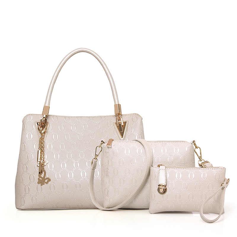 3 шт. в набор композитный мешок синие белые черные золотые кожаные сумки женские сумки через плечо