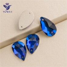 YANRUO 3230, все размеры, Капри, синие, капля, пришитые стразы, хрустальные камни, плоские с оборота, стразы для шитья, для рукоделия