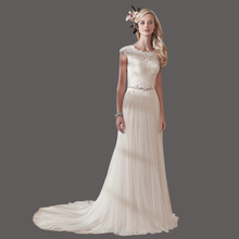 Sheath Cheap Wedding Dresses Floor Length Soft Tulle Custom Made Wedding Gowns With Beadings KS52