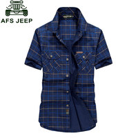 Plus Size M 4XL 5XLSummer Men S 100 Cotton Shirts Plaid Blue Solid Color Dress Short