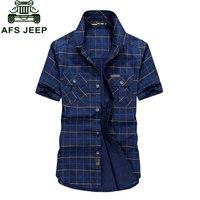 Plus Size M 4XL 5XLSummer Men S 100 Cotton Shirts Plaid Blue Solid Color Dress Short