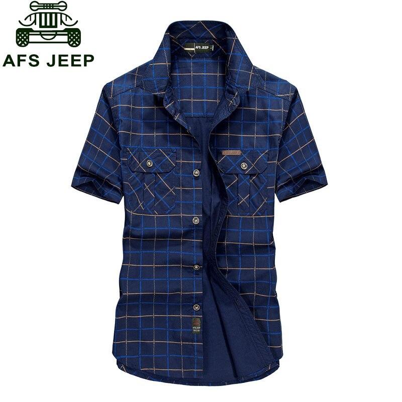 Plus Size M~4XL 5XLSummer Men's 100% Cotton Shirts Plaid Blue Solid Color Dress Short Sleeve Shirts Casual Man Brand CLOTHES