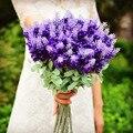 Lavanda flores plásticas artificiales boda ramos de 2016 con hojas románticas Wedding Bouquets broche de la boda Accessies P8