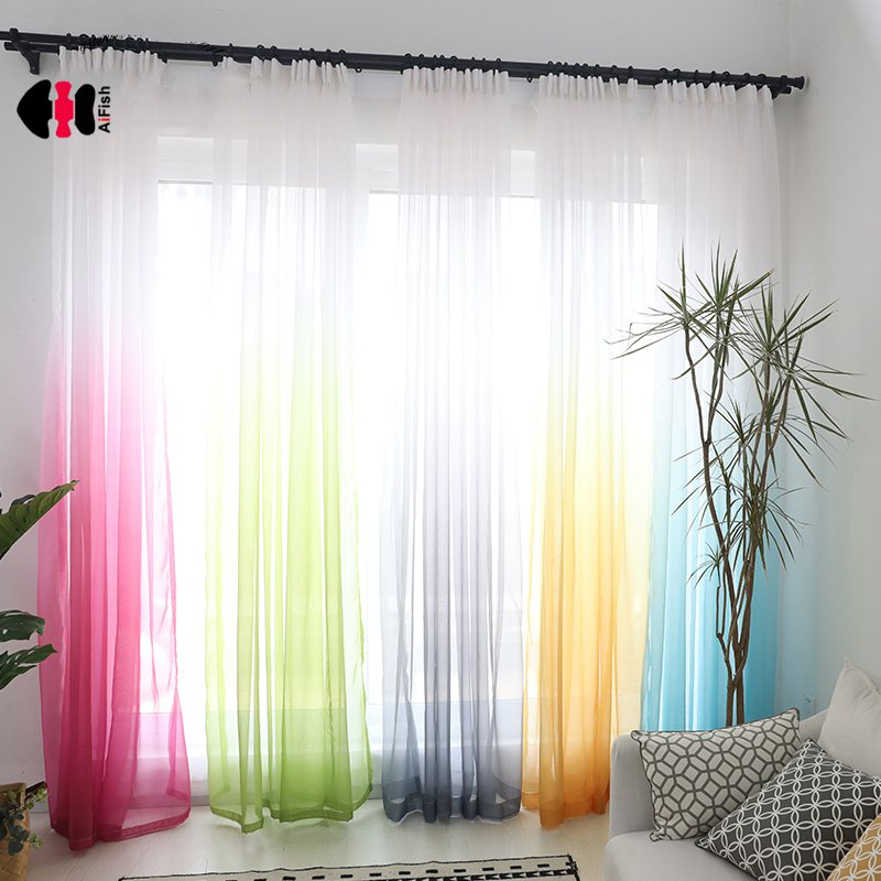 Colorful Sheer Voile Curtains For Bedroom Hotel Pastoral Rustic Gradient Terylene French Window Treatment Drape Gauze 185C