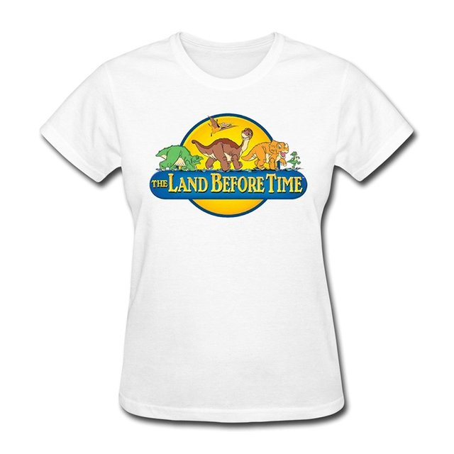 Make Your Own T Shirt Women's Graphic Crew Neck Short-Sleeve The Land Before Time Logo T-shirts