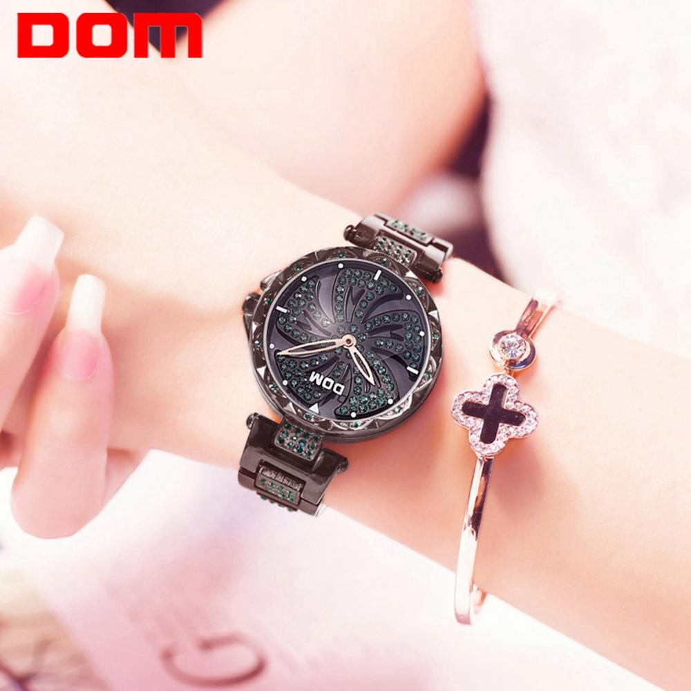 DOM Women Rotation Watch Creative Female Wristwatches Stainless Steel Strap Watches Waterproof Ladies Quartz Watch G-1258BK-1MF