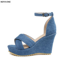 NEMAONE New denim Wedge Sandals Women Summer ankle strap High Heels Ladies  party dress Shoes black eeb8b6d7cde0