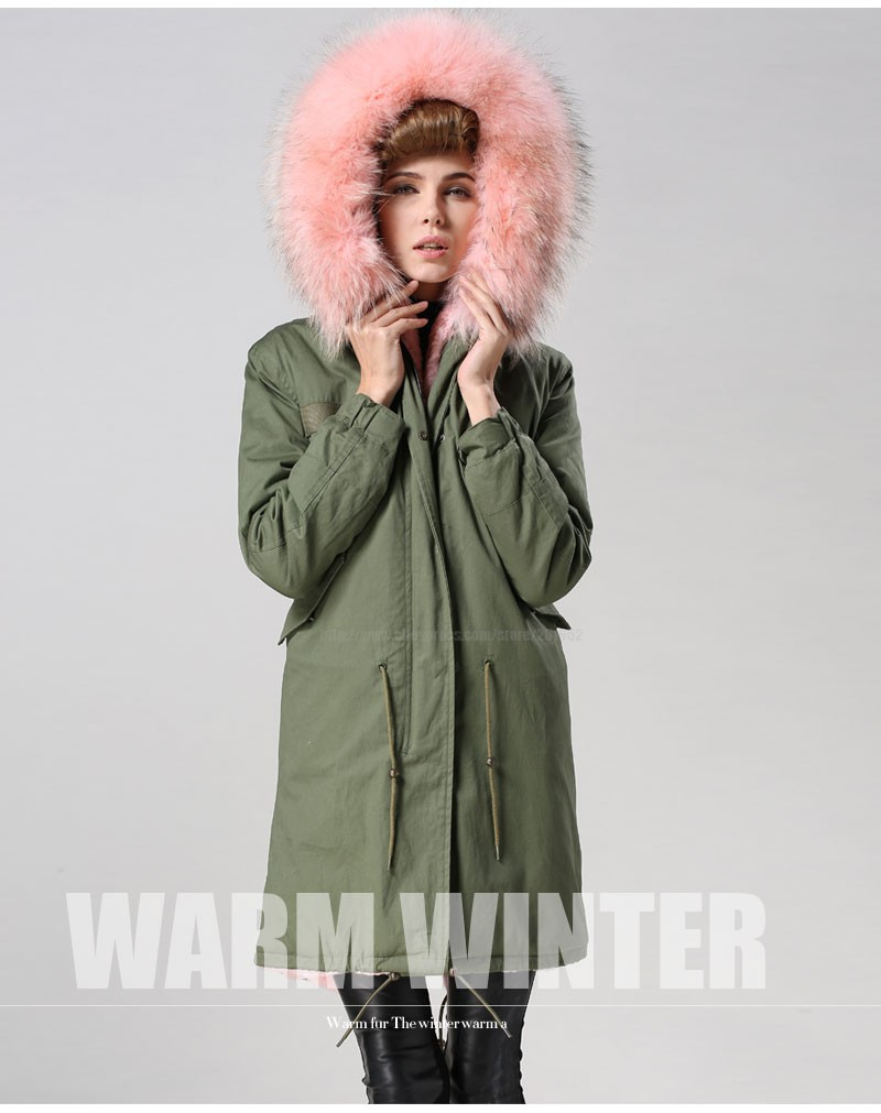 Factory wholesale price Women's Vintage Retro Fur Hooded Military Parka Jacket Coat with pink lined and collar fur mr 30