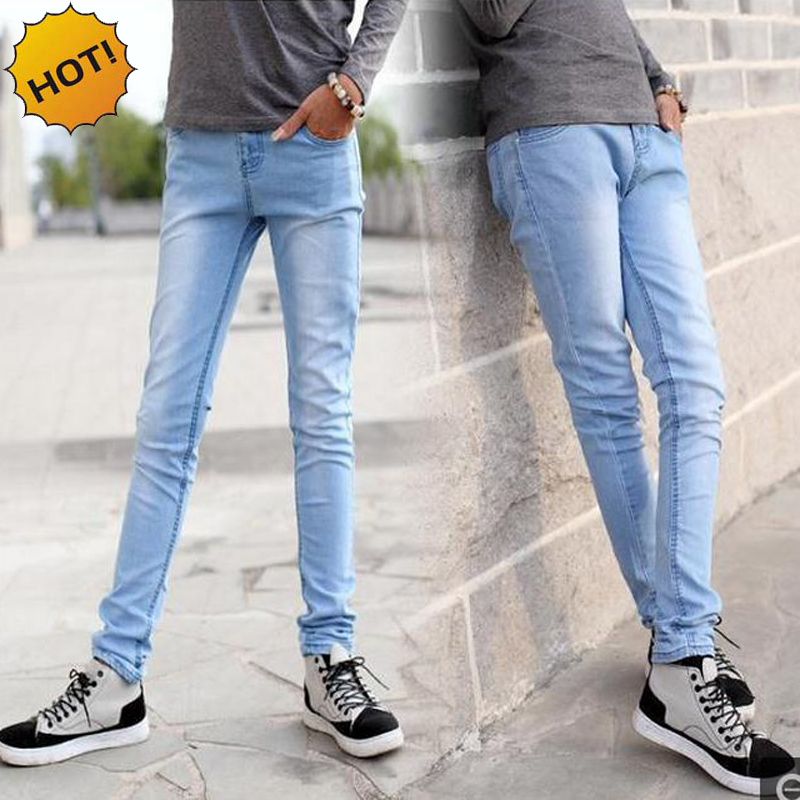 Hot Style 2016 Fashion Boys Light Blue Slim Fit Bottoms Pencil Pants Solid Casual Crossfit Micro