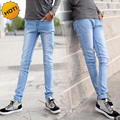 Hot Style 2016 Fashion Boys Light Blue Slim Fit Bottoms Pencil Pants Solid Casual Crossfit Micro Stretch Jeans Men 28-34