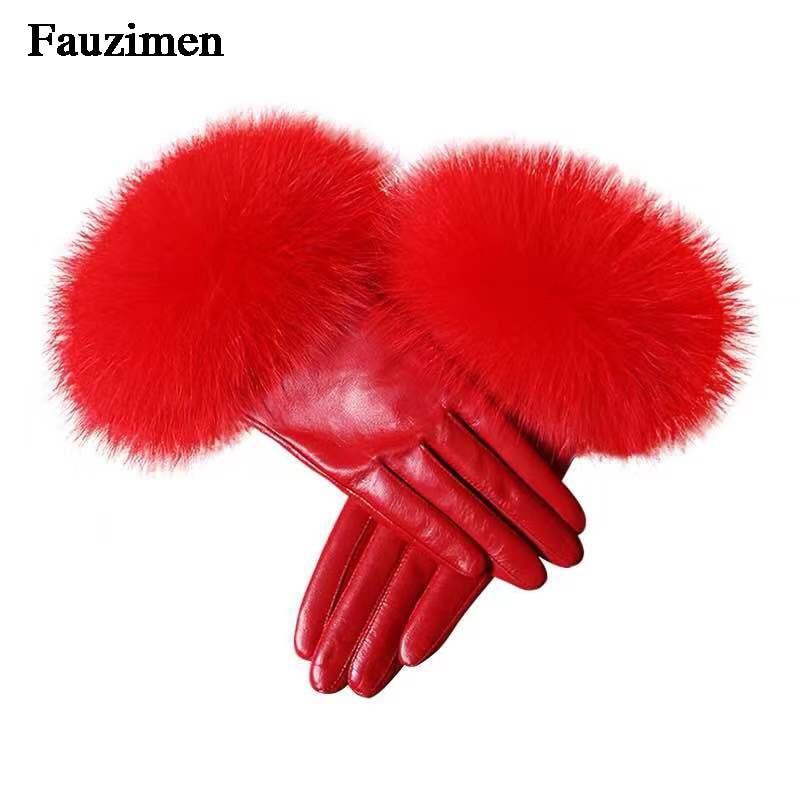 Mitaines de fourrure de renard en cuir de mouton véritable hiver Sexy gant en cuir véritable gants de fourrure de renard mode femme