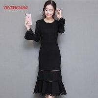 2018 New Vintage Fashion Women Long dress Slim Tail Socialite Dresses Black L0752