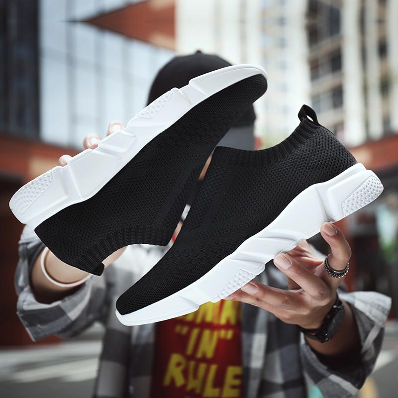 2019 Summer Slip On Shoes Men Breathable Chunky Sneakers Mesh Male Casual Footwear Mens Black White Plus Size 35-46 Tenis Hombre