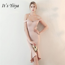Its Yiiya Sexy Prom dress knee-length Boat neck zipper back women party dresses Pink blue black red Short sleeve gown C156