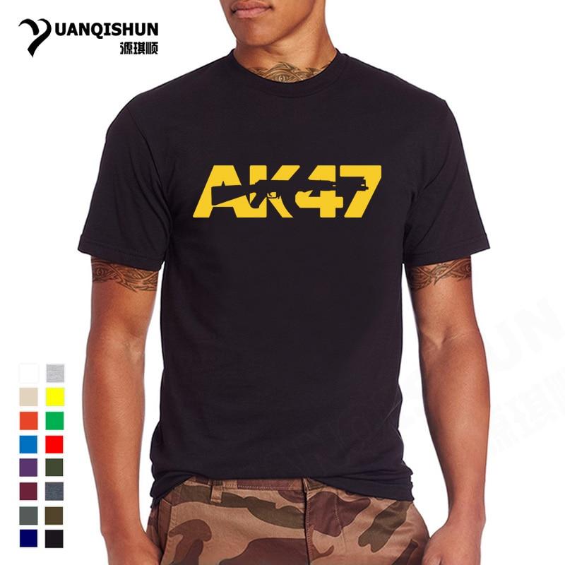 2018 New Fashion Men   T     Shirt   AK47 Letter Printing   T  -  shirt   High Quality 16 Colors O-neck 100% Cotton Tshirt AK-47 Tops AK 47 Tees